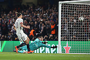 Paris Saint Germain striker Zlatan Ibrahimovic (10) scoring PSG second goal 1-2 during the Champions League match between Chelsea and Paris Saint-Germain at Stamford Bridge, London, England on 9 March 2016. Photo by Matthew Redman.