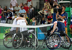Stephane Houdet (2L) and Nicolas Peifer of France celebrate after winning against Alfie Hewett  and Gordon Reid of the UK in the Tennis Men's Doubles Gold Medal Match during Day 8 of the Rio 2016 Summer Paralympics Games on September 15, 2016 in Olympic Tennis Centre, Rio de Janeiro, Brazil. Photo by Vid Ponikvar / Sportida