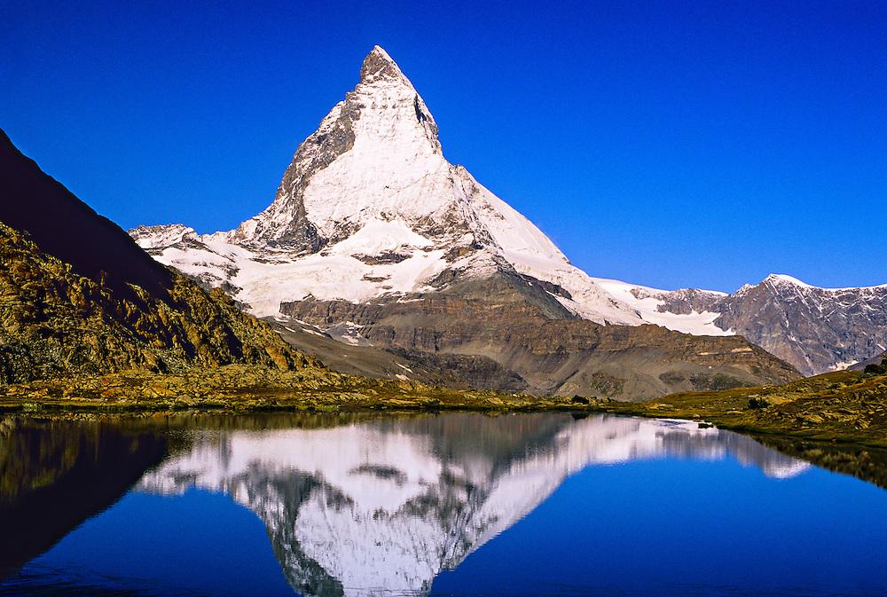 Matterhorn (Riffelsee in front) near Zermatt, Switzerland