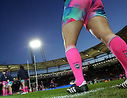 A general view of a pair of Stade Francais socks as the team warm up by practicing a lineout. Stade Toulousain v Stade Francais, Top 14 Rugby, Stade Municipal, Toulouse, 29th March 2009.