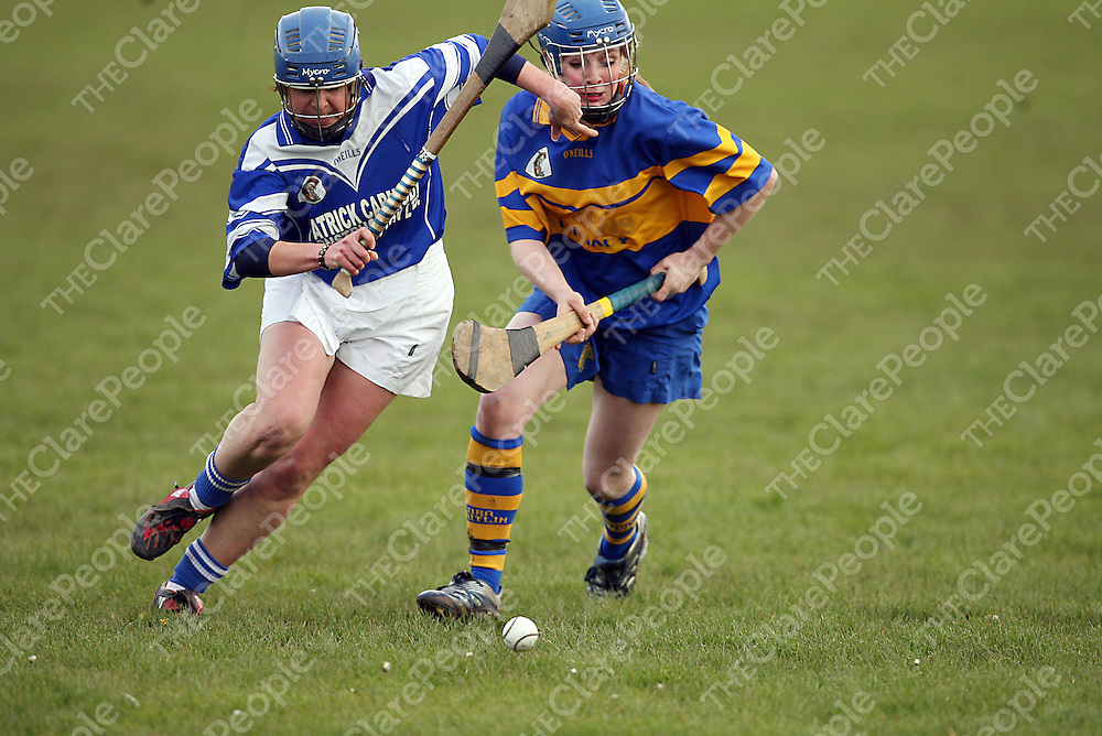 Kilmaley's Siobhain White tries to hold off Newmarket's Gemma McInerney during their league final clash in Kilkishen on Saturday evening.<br /> Photograph by Yvonne Vaughan