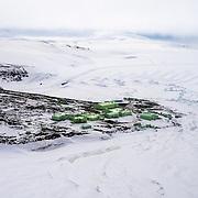 New Zealand's Scott Base located on Pram Point, Ross Island, Antarctica. Castle Rock on upper left.