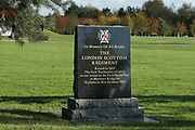 The London Scottish Regiment Memorial at the National Memorial Arboretum, Croxall Road, Alrewas, Burton-On-Trent,  Staffordshire, on 29 October 2018. Picture by Mick Haynes.