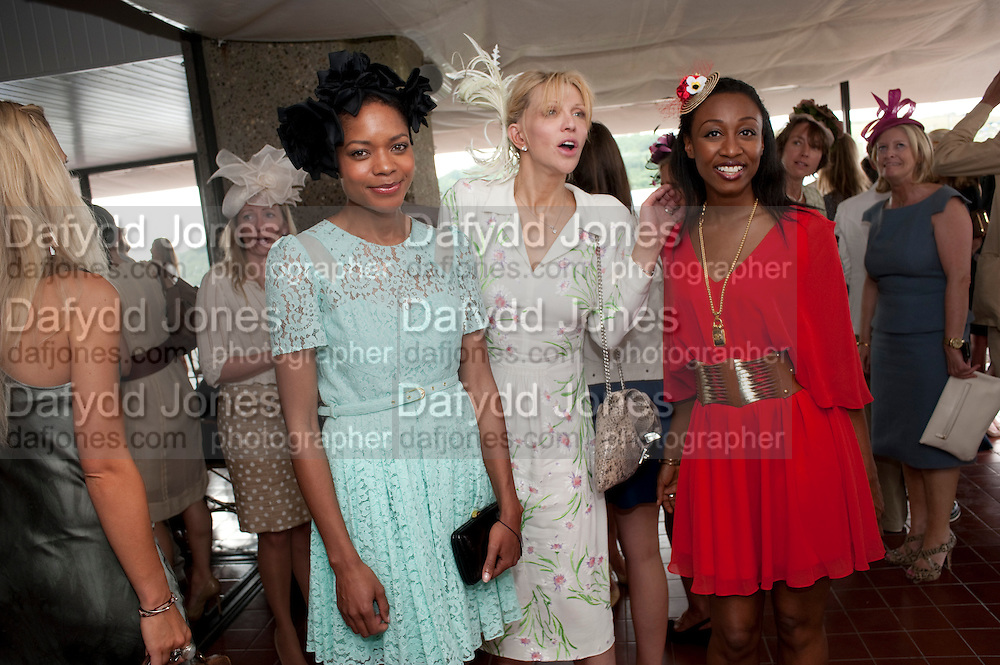 NAOMI HARRIS; COURTNEY LOVE;  BEVERLEY KNIGHT,  IN THE DUKE OF RICHMOND BOX, Glorious Goodwood. Ladies Day. 28 July 2011. <br /> <br />  , -DO NOT ARCHIVE-© Copyright Photograph by Dafydd Jones. 248 Clapham Rd. London SW9 0PZ. Tel 0207 820 0771. www.dafjones.com.