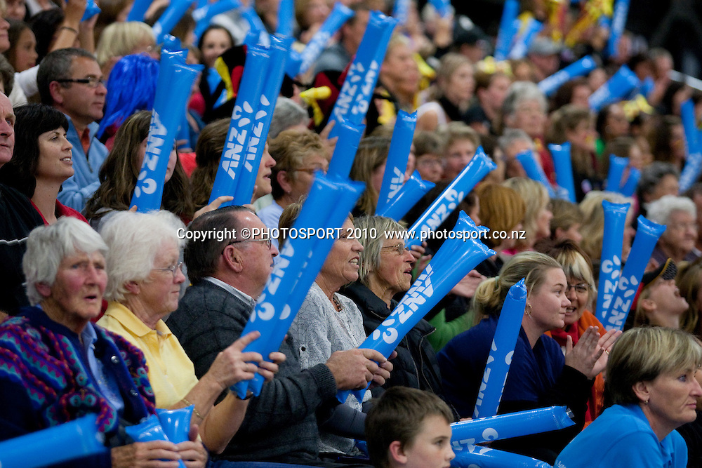 Fans in the crowd cheer during the ANZ Netball Champs, Magic v Mystics, won 49-46 by Magic, Monday 3 May 2010, Mystery Creek Events Centre, Hamilton, New Zealand. Photo: Stephen Barker/PHOTOSPORT