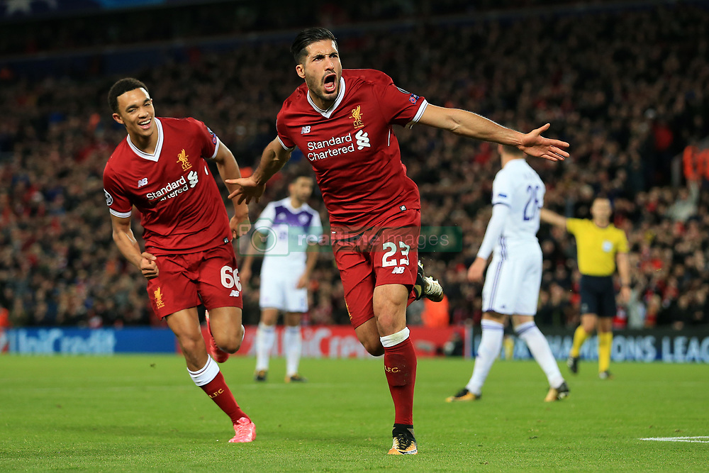 1st November 2017 - UEFA Champions League - Group E - Liverpool v NK Maribor - Emre Can of Liverpool celebrates after scoring their 2nd goal - Photo: Simon Stacpoole / Offside.