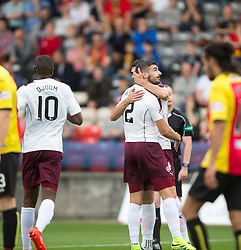 Hearts Callum Paterson (2) cele scoring their goal. half time - Partick Thistle 0 v 1 Hearts, Ladbrokes Premiership match played 27/89/2016 at Firhill.