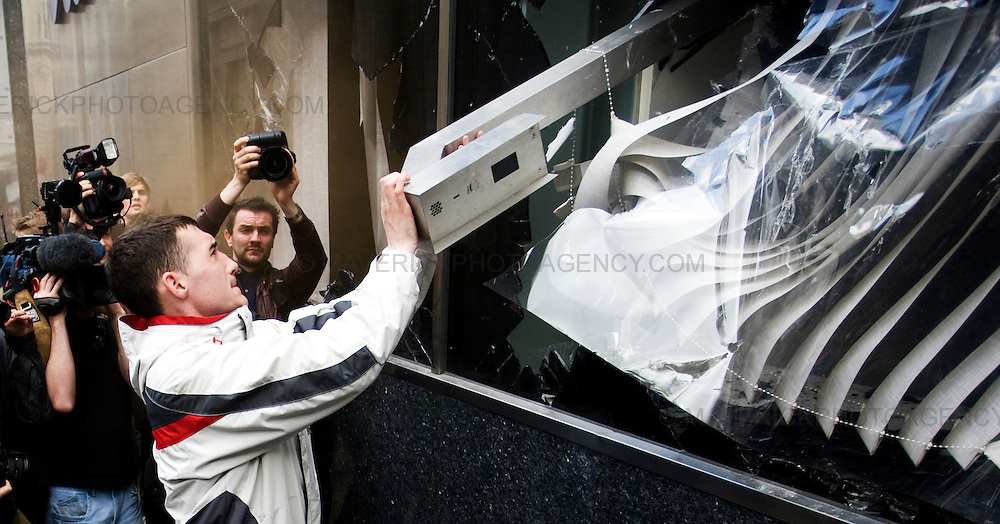 Protesters Destroy a Royal Bank Of Scotland building in London City ahead of the G20 meeting...