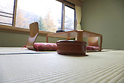 low angle view of traditional tatami room with a zaisu chair