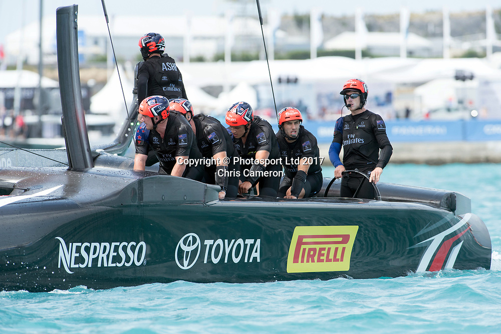 The Great Sound, Bermuda. 2nd June 2017. Emirates Team New Zealand cross the finish line to beat Groupama Team France in their Round Robin two match of the America's Cup Qualifiers.<br /> Copyright photo: Chris Cameron / www.photosport.nz<br /> For editorial news use only NO AGENTS