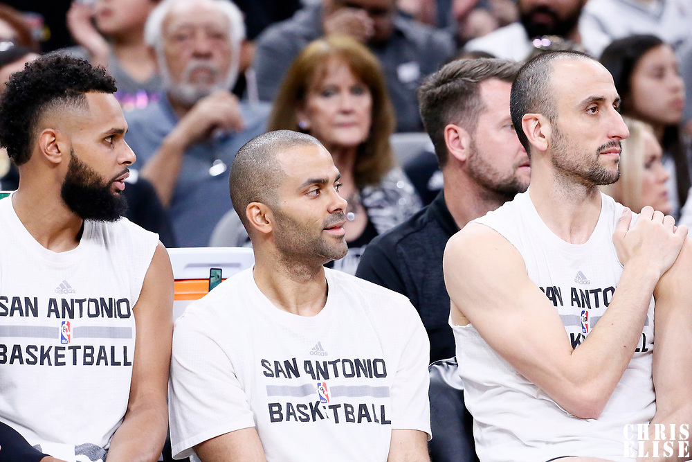 02 April 2017: San Antonio Spurs guard Patty Mills (8) is seen on the bench next to San Antonio Spurs guard Tony Parker (9) and San Antonio Spurs guard Manu Ginobili (20) during the San Antonio Spurs 109-103 victory over the Utah Jazz, at the AT&T Center, San Antonio, Texas, USA.