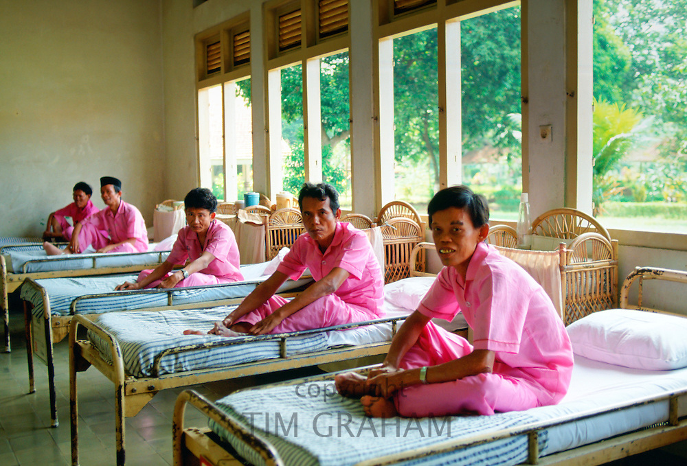 Men suffering from leprosy are cared for as patients in the Sitanala Hospital in Jakarta, Indonesia