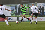 Forest Green Rovers Charlie Cooper(20) crosses the ball during the Vanarama National League match between Forest Green Rovers and Boreham Wood at the New Lawn, Forest Green, United Kingdom on 11 February 2017. Photo by Shane Healey.
