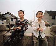 Zhouzhuang, Chine.Zhouzhuang est une magnifique petite ville classe?e patrimoine historique par l'Unesco situe?e a? seulement quelques heures de Shanghai. Ses nombreux canaux lui ont valu le nom de la Venise de l'Extre?me-Orient. Sur un des nombreux ponts qui enjambent ces canaux, j'ai rencontre? ces deux petits garc?ons espie?gles qui jouaient avec des frondes.