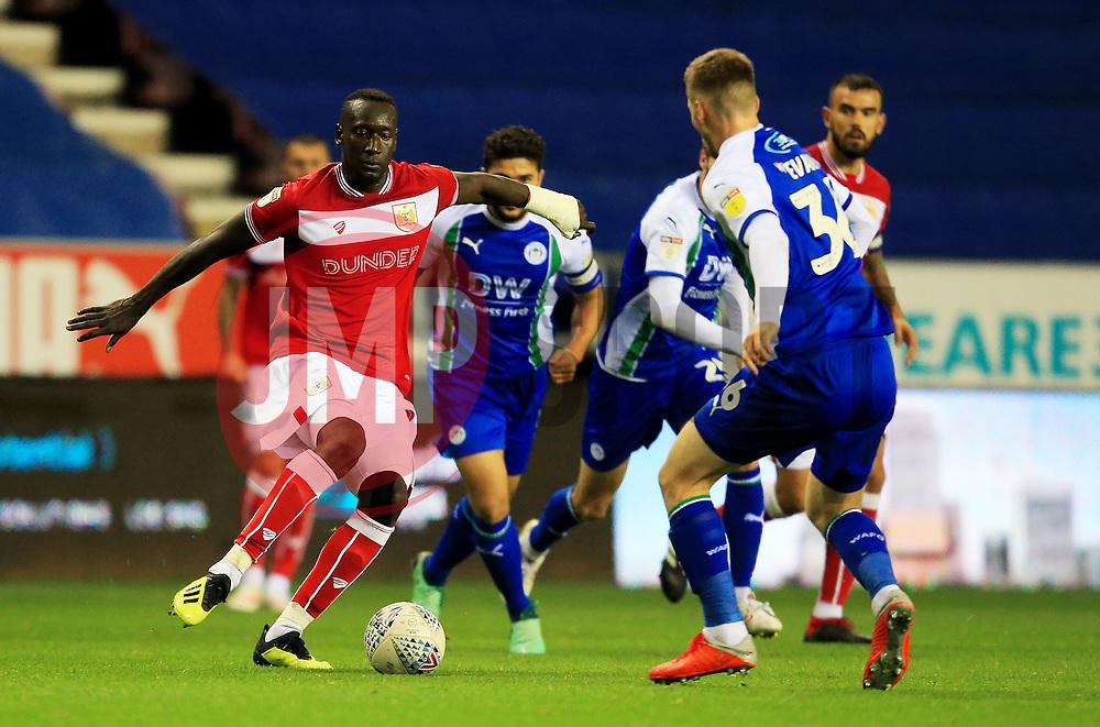Bristol City's Famara Diedhiou takes on Wigan Athletic's Lee Evans - Mandatory by-line: Matt McNulty/JMP - 21/09/2018 - FOOTBALL - DW Stadium - Wigan, England - Wigan Athletic v Bristol City - Sky Bet Championship