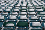 Seats in the Brain Moore stand (away supporters end) covered in snow ahead of the EFL Sky Bet League 1 match between Gillingham and Blackburn Rovers at the MEMS Priestfield Stadium, Gillingham, England on 17 March 2018. Picture by Martin Cole.