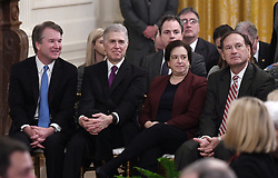 U.S. Supreme Court Justices, left to right, Brett Kavanaugh, Neil Gorsuch, Elena Kagan, and Samuel Alito attend the Presidential Medal of Freedom ceremony in the East Room at the White House in Washington, DC, on November 16, 2018. Photo by Olivier Douliery/ABACAPRESS.COM