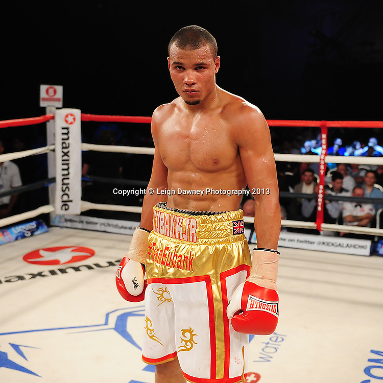 Chris Eubank Jnr (pictured) after defeating Tyan Booth in a Middleweight contest at Glow, Bluewater, Dartford, Kent, UK on 8th June 2013. Promoter: Hennessy Sports. Mandatory Credit: © Leigh Dawney