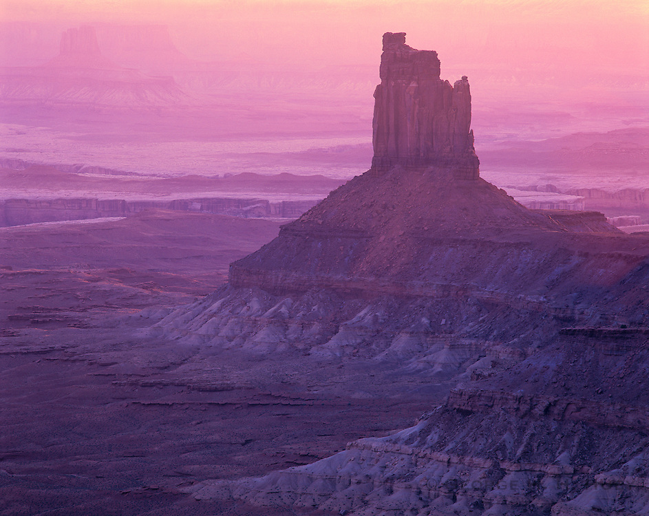 0303-1057LVT ~ Copyright: George H. H. Huey ~ Candlestick Tower at sunset from Green View Overlook. [Island In The Sky]. Canyonlands National Park, Utah.