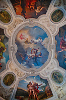 Colourful frieze on the ceiling of the Louvre
