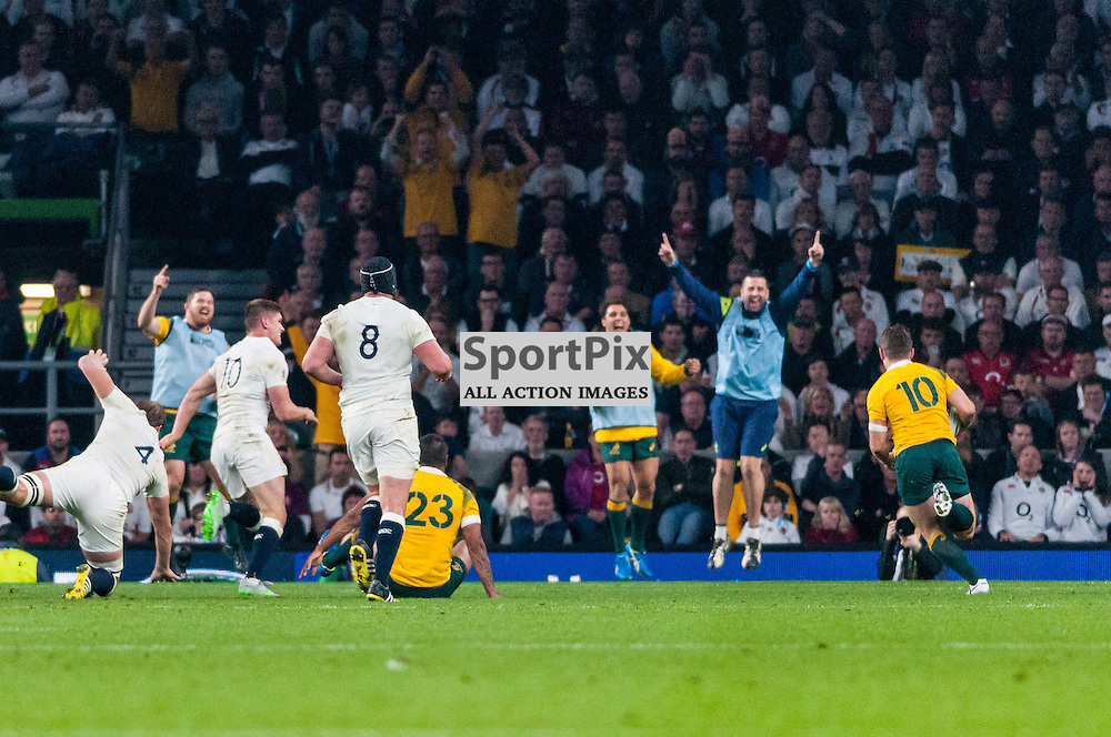 Bernard Foley of Australia runs in, to the delight of the Wallabies subs, for his second try. Action from the England v Australia game in Pool A of the 2015 Rugby World Cup at Twickenham in London, 3 October 2015. (c) Paul J Roberts / Sportpix.org.uk