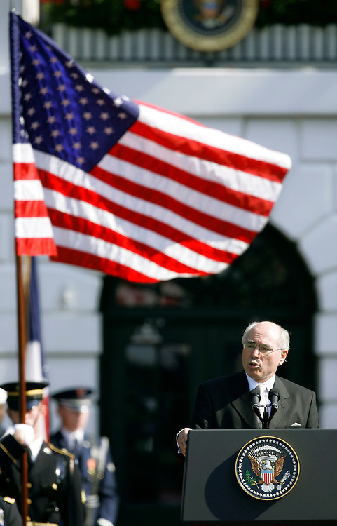 Australian Prime Minister John Howard speaks during a welcoming ceremony on the South Lawn of the White House in Washington, May 16, 2006. Howard, on an official visit to Washington, meets with Bush in the Oval Office and will attend a state dinner in his honor this evening. REUTERS/Joshua Roberts