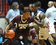 "Mississippi State's Arnett Moultrie (23) works against Mississippi's Murphy Holloway (31) at the C.M. ""Tad"" Smith Coliseum in Oxford, Miss. on Wednesday, January 18, 2012. (AP Photo/Oxford Eagle, Bruce Newman)."