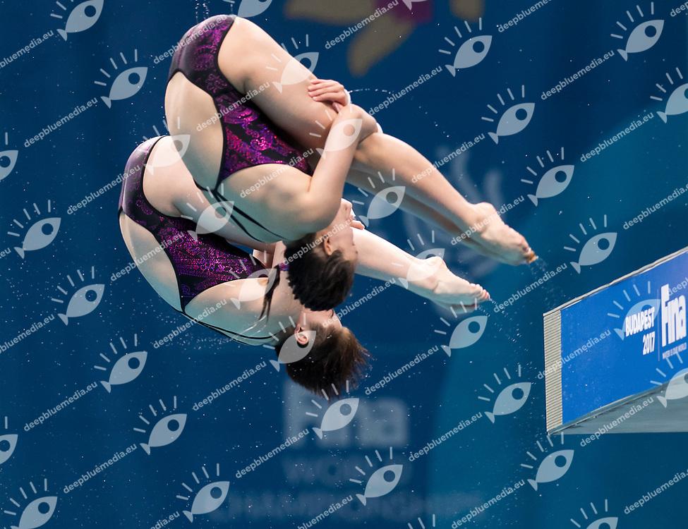 REN Qian SI Yajie CHN gold medal<br /> Diving<br /> Women's 1om platform final<br /> 16/07/2017 <br /> XVII FINA World Championships Aquatics<br /> Duna Arena<br /> Photo @ Giorgio Perottino/Deepbluemedia/Insidefoto