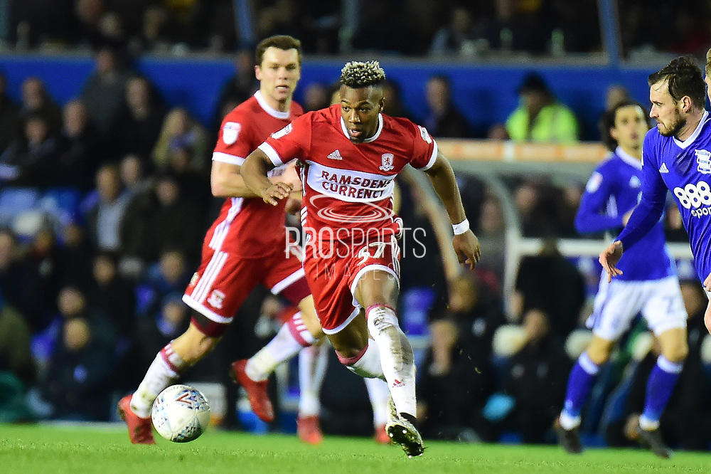 Middlesbrough striker Adama Traore (37) sprints forward with the ball during the EFL Sky Bet Championship match between Birmingham City and Middlesbrough at St Andrews, Birmingham, England on 6 March 2018. Picture by Dennis Goodwin.