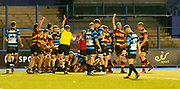 Second try of the night for Carmarthen Quins RFC.<br /> <br /> Cardiff Arms Park, Cardiff, Wales, UK - Saturday 19th October, 2019.<br /> <br /> Images from the Indigo Welsh Premiership rugby match between Cardiff RFC and Carmarthen Quins RFC. <br /> <br /> Photographer Dan Minto<br /> <br /> mail@danmintophotography.com <br /> www.danmintophotography.com