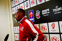 Tyrone Lee is interviewed after joining the Bristol Flyers - Mandatory byline: Rogan Thomson/JMP - 07966 386802 - 06/10/2015 - BASKETBALL - SGS Wise Arena - Bristol, England - Bristol Flyers New Signing.