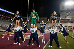 October 2, 2010; Chestnut Hill, MA, USA;  Notre Dame Fighting Irish cheerleaders and mascot perform before the game against the Boston College Eagles at the Alumni Stadium.  Notre Dame defeated Boston College 31-13.