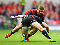 Rugby Union - 2016 / 2017 European Rugby Champions Cup - Semi-Final: Munster vs. Saracens<br /> <br /> Munster's Jaco Taute in action against Marcelo Bosh of Saracens  at the Aviva Stadium, Dublin.<br /> <br /> COLORSPORT/KEN SUTTON