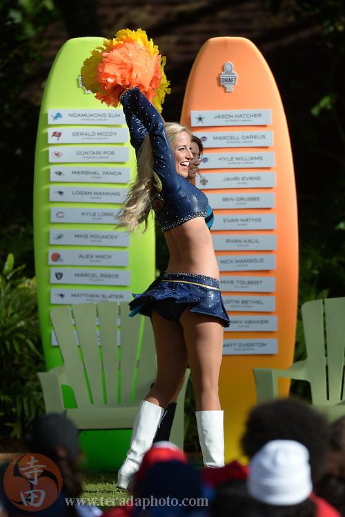 January 22, 2014; Ko'Olina, HI, USA; St. Louis Rams cheerleader Aimee Scheuneman performs during the Pro Bowl draft at J.W. Marriott Ihilani Resort & Spa.