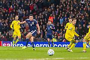 John McGinn (Aston Villa) strikes towards goal during the UEFA European 2020 Qualifier match between Scotland and Kazakhstan at Hampden Park, Glasgow, United Kingdom on 19 November 2019.