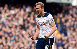 LONDON, ENGLAND - Sunday, March 5, 2017: Tottenham Hotspur's Harry Kane celebrates scoring the first goal against Everton during the FA Premier League match at White Hart Lane. (Pic by David Rawcliffe/Propaganda)