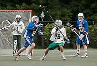 Gilford's Andy Upton and Hopkinton's Bennett Mosseau go after the ball during NHIAA Division III Lacrosse State Championships at Stellos Stadium Tuesday evening.  (Karen Bobotas/for the Laconia Daily Sun)NHIAA Division III Lacrosse State Championships at Stellos Stadium June 7, 2011. NHIAA Division III Lacrosse State Championships at Stellos Stadium June 7, 2011. NHIAA Division III Lacrosse State Championships Gilford versus Hopkinton at Stellos Stadium June 7, 2011.