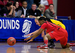 March 20, 2010; Stanford, CA, USA; Iowa Hawkeyes guard Kamille Wahlin (2) and Rutgers Scarlet Knights guard Erica Wheeler (3) battle of a loose ball during the second half in the first round of the 2010 NCAA womens basketball tournament at Maples Pavilion.  Iowa defeated Rutgers 70-63.