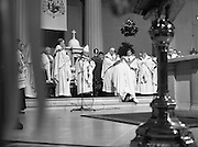 Episcopal Ordination Of Desmond Connell. (R74).1988..06.03.1988..03.06.1988..6th March 1988..Following the death of Archbishop Kevin McNamara in April '87, Pope John Paul II surprisingly nominated Desmond Connell for the position of Archbishop of Dublin. The ordination of Dr Connell took place at the Pro-Cathedral in Dublin...Desmond Connell is blessed by the heirarchy as he takes up his role of Archbishop of Dublin.