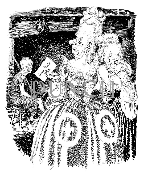 (Harold Macmillan as Cinderella, sitting by the hearth as the ugly sisters, Charles de Gaulle and Conrad Adenauer go to the Common Market Ball)