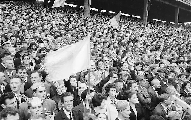 Roscommon supporters excited for the All Ireland Senior Gaelic Football Championship Final Kerry v Roscommon in Croke Park on the 23rd September 1962. Kerry 1-12 Roscommon 1-6.