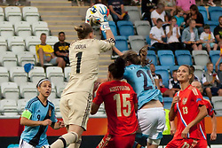 18.07.2013, Nya Parken, Norrkoeping, SWE, UEFA Damen Euro, Russland vs Spanien, im Bild R&auml;ddning av 1 Elvira Todua,, 15 Anastasia Kostyukova, 13 alla Sidorovskaya, Irene Paredes 20, 9 Veronica Boquete, Nyckelord , Keywords : rescue, r&auml;ddning landskamp // during UEFA Womens Euro Match between Russia and Spain at the Nya Parken Stadium, Norrkoeping, Sweden on 2013/07/18. EXPA Pictures &copy; 2013, PhotoCredit: EXPA/ PicAgency Skycam/ Lotta Anelid Karlgren<br /> <br /> ***** ATTENTION - OUT OF SWE *****