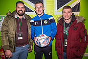 MOM Forest Green Rovers Lee Collins(5) with match sponsors ESS during the EFL Sky Bet League 2 match between Forest Green Rovers and Coventry City at the New Lawn, Forest Green, United Kingdom on 3 February 2018. Picture by Shane Healey.