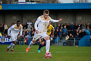 Freddie Sears converts a pen to make it 3-0 during the The FA Cup match between Gosport Borough and Colchester United at Privett Park, Gosport, United Kingdom on 9 November 2014.