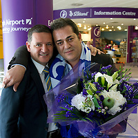 Eskisehirspor President Halil Unal is greeted at Edinburgh Airport by St Johnstone Chairman Steve Brown ahead of tomorrow nights Uefa Cup Qualifyer at McDiarmid Park.....15.07.12<br /> Picture by Graeme Hart.<br /> Copyright Perthshire Picture Agency<br /> Tel: 01738 623350  Mobile: 07990 594431