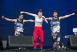 © Licensed to London News Pictures . 07/06/2014 . Heaton Park , Manchester , UK . KIESZA performs on the main stage . The Parklife music festival in Heaton Park Manchester following heavy overnight rain . Photo credit : Joel Goodman/LNP