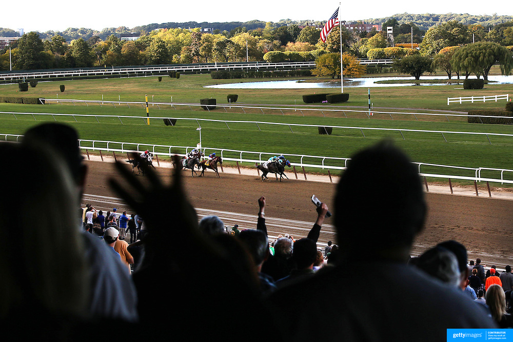 Large crowds watching the racing at Belmont Park during the Jockey Club Gold Cup Day, Belmont Park, New York. USA. 28th September 2013. Photo Tim Clayton