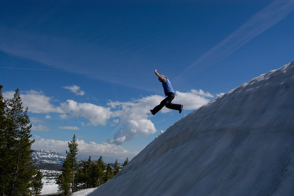 When the high Sierra passes open in late spring, there is still plenty of opportunity to play in the snow, which can accumulate to over 20 feet during a winter season.