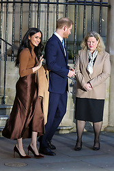 © Licensed to London News Pictures. 07/01/2020. London, UK. Prince Harry, Duke of Sussex and Meghan, Duchess of Sussex (L) outside Canada House in London with meeting  Janice Charette (R), High Commissioner for Canada to the UK. Photo credit: Dinendra Haria/LNP