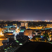 Guelph was once a sleepy little Ontario town, but is now a vibrant small city.  Church of our Lady, Quebec Street, St. Georges Church and other Guelph landmarks can be seen in this vibrant night photo.  Photo by Andrew Goodwin